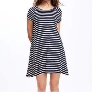 Old Navy Ribbed Striped Swing Dress Small EUC
